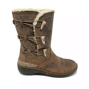UGG Kona Boots Toggle Sheepskin Brown Leather